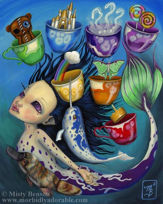 Art: Seven of Cups from the Morbidly Adorable Tarot by Artist Misty Monster (Benson)