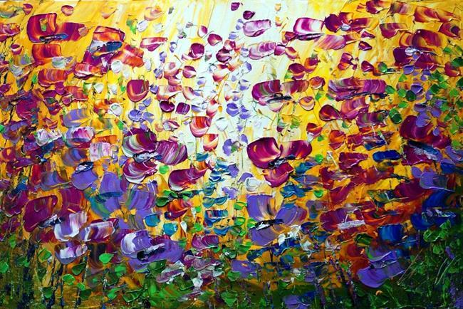 Art: The Purple Fields at Sunset by Artist LUIZA VIZOLI