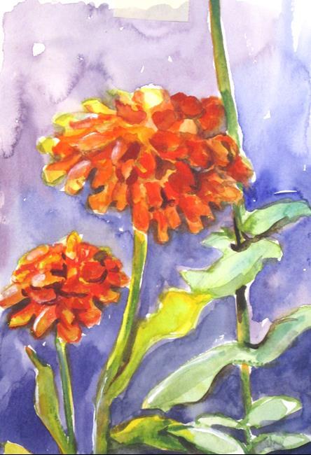 Art: Zinnias by Artist Delilah Smith