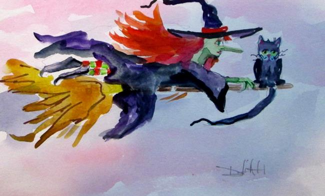 Art: Witch on a Broom by Artist Delilah Smith