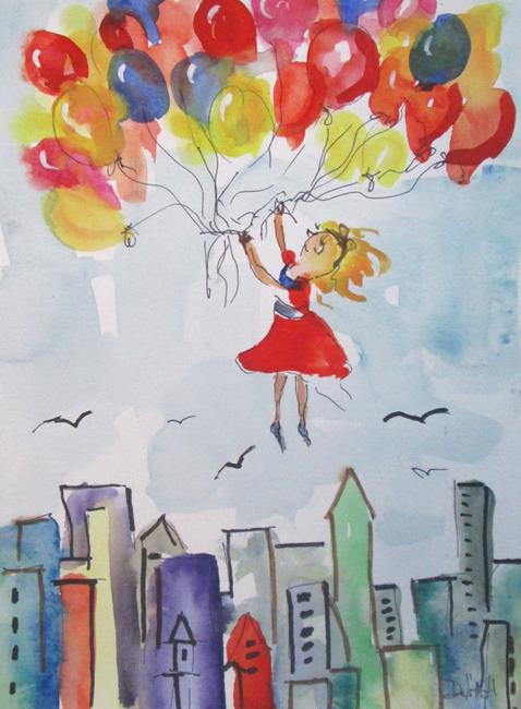 Art: Girl with Balloons by Artist Delilah Smith