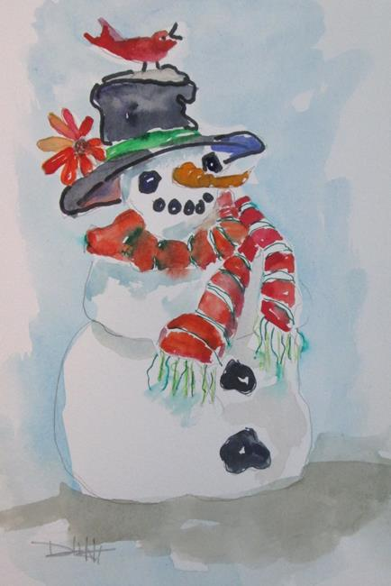 Art: Snowman and Cardinal by Artist Delilah Smith