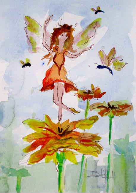 Art: Fairy and Butterfly by Artist Delilah Smith