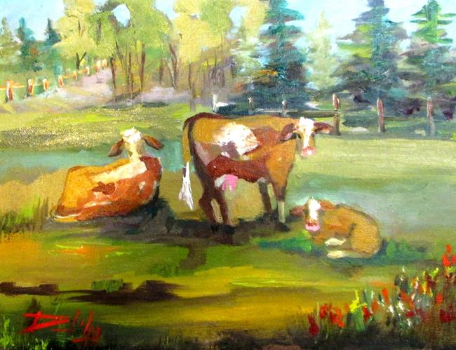 Art: Three Cows in the Pasture by Artist Delilah Smith