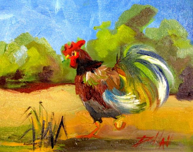 Art: Chicken in the Field by Artist Delilah Smith