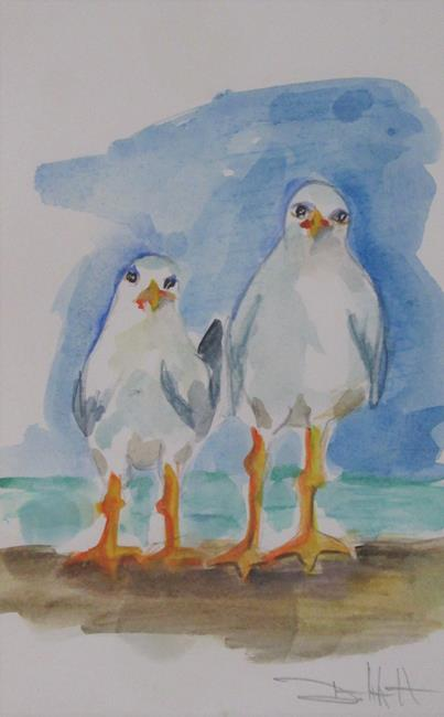 Art: Two Sea Gulls by Artist Delilah Smith