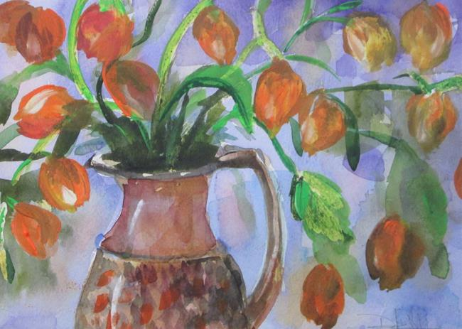 Art: Flowers Chinese Lanterns by Artist Delilah Smith