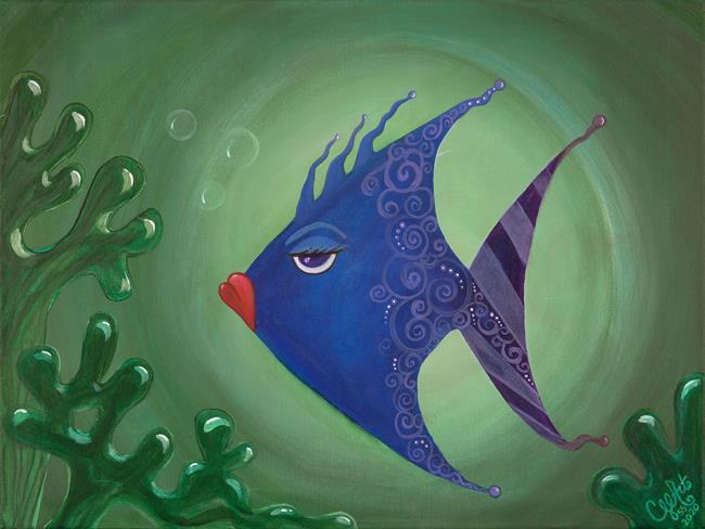 Art: A Fish Named Blu by Artist Cherelle Art