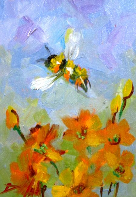 Art: Bee in the Orange Flowers by Artist Delilah Smith