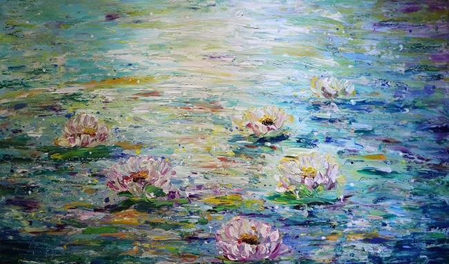 Art: Monet Lily Pond by Artist LUIZA VIZOLI