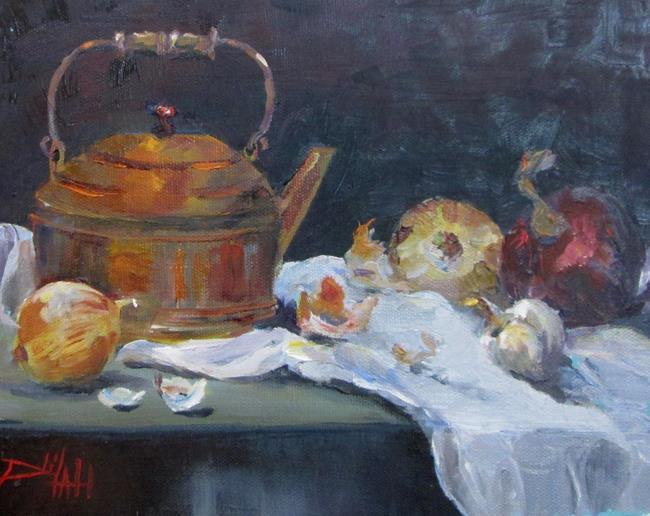 Art: Copper Tea Pot by Artist Delilah Smith