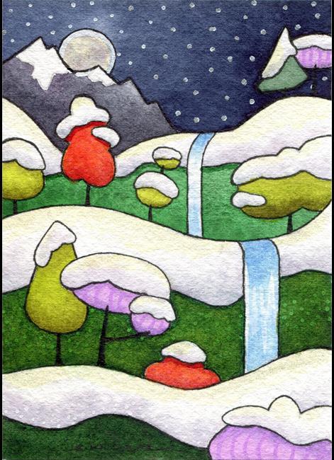Art: Early Winter Moonrise Lg.jpg by Artist Sandra Willard