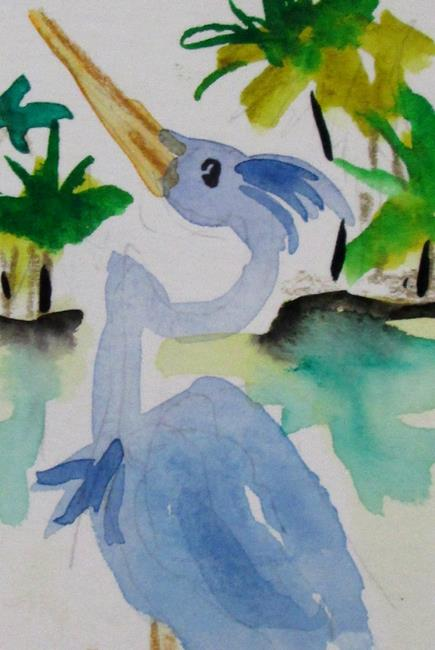 Art: Blue Heron aceo by Artist Delilah Smith
