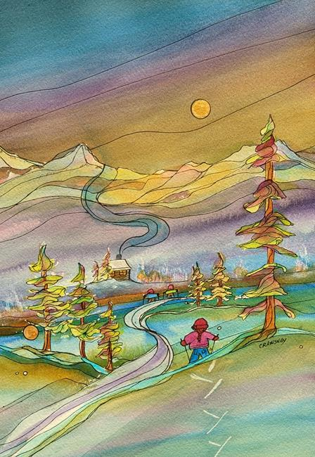 Art: Air, Mountains and Trees (sold) by Artist Kathy Crawshay