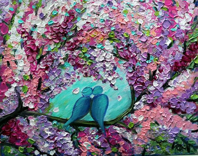 Art: BLUE BIRDS SPRING LILACS by Artist LUIZA VIZOLI