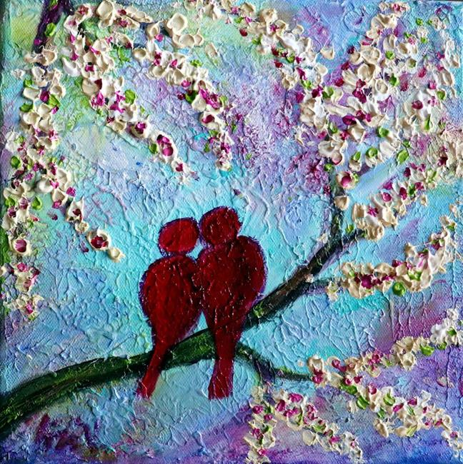 Art: RED BIRDS IN LOVE by Artist LUIZA VIZOLI