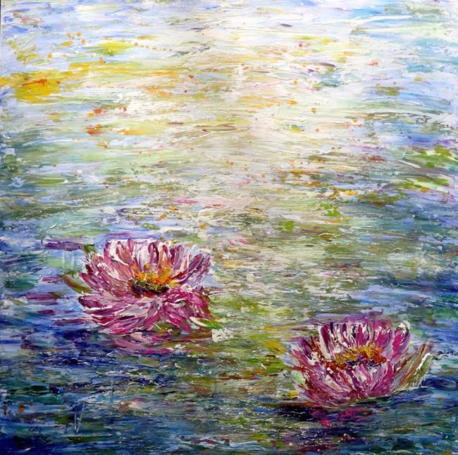 Art: Water Lilies Lotus Flowers by Artist LUIZA VIZOLI