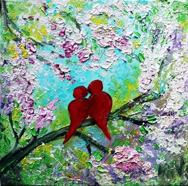 Art: Red Love Birds Spring by Artist LUIZA VIZOLI