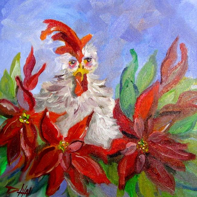 Art: Chicken in the Poinsettias No. 2 by Artist Delilah Smith