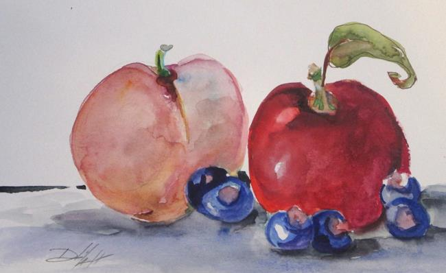 Art: Peach,Apple,and Blueberries by Artist Delilah Smith
