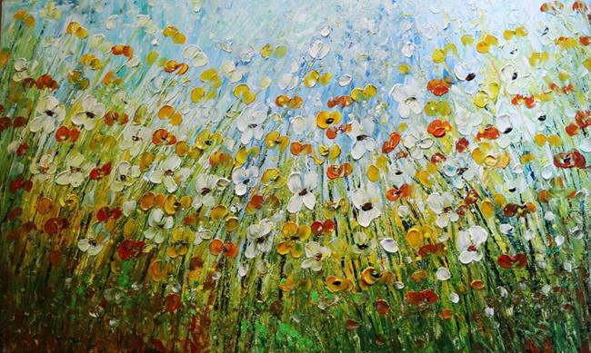 Art: DAISY FIELD Flowers Meadow by Artist LUIZA VIZOLI