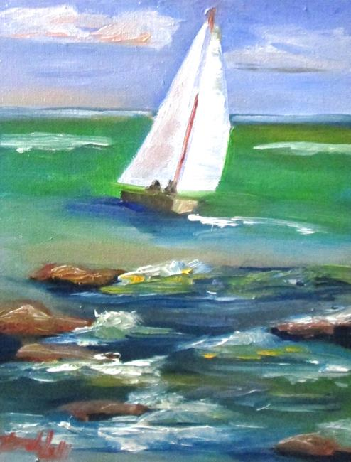 Art: Sailboat on the Sea by Artist Delilah Smith
