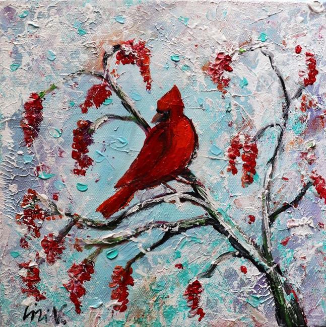 Art: Red Cardinal by Artist LUIZA VIZOLI