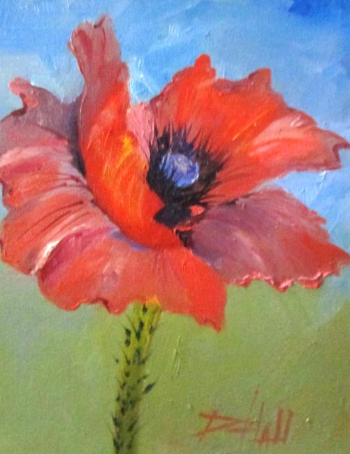 Art: Red Garden Poppy by Artist Delilah Smith