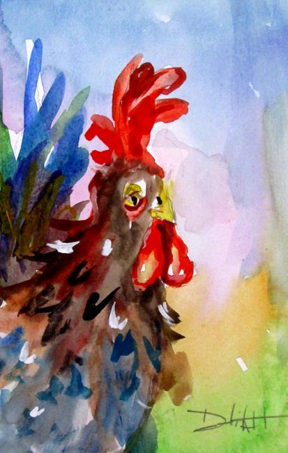 Art: Blue Tail Rooster by Artist Delilah Smith
