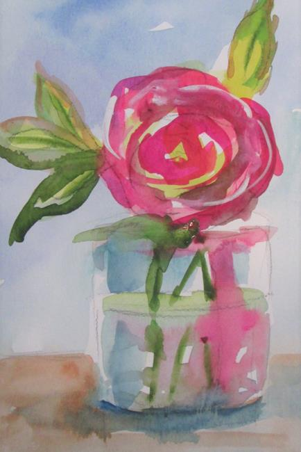 Art: Pink Rose in Water by Artist Delilah Smith