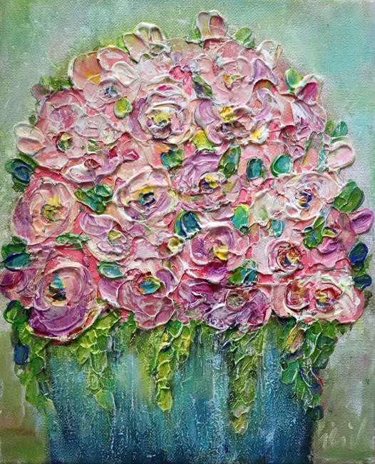 Art: Ranunculus Roses Bouquet by Artist LUIZA VIZOLI