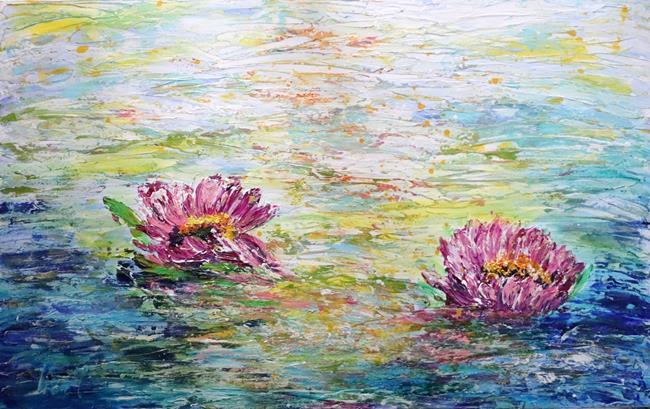 Art: Water Lotus Flowers by Artist LUIZA VIZOLI
