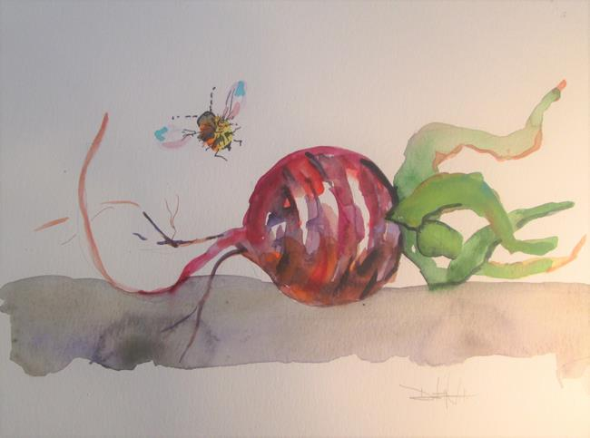 Art: Beet and Bees by Artist Delilah Smith