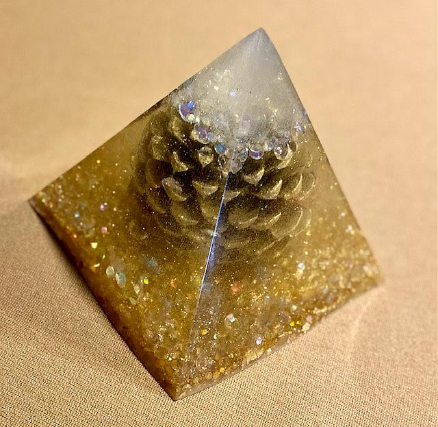 Art: Resin Pyramid with Pine cone by Artist Ulrike 'Ricky' Martin