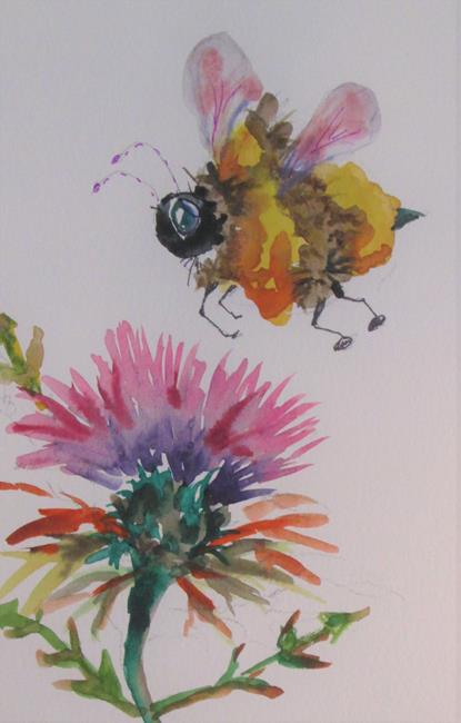 Art: Bee and Thistle by Artist Delilah Smith