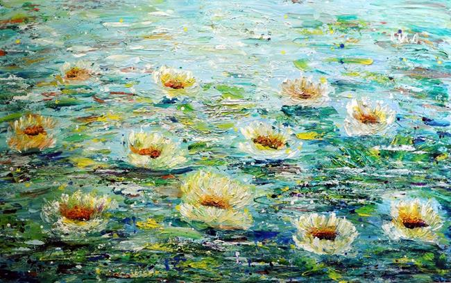 Art: Homage to Monet Lily Pond by Artist LUIZA VIZOLI