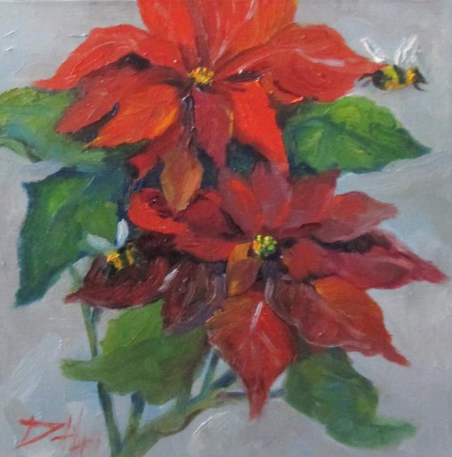 Art: Poinsettia and Bees by Artist Delilah Smith