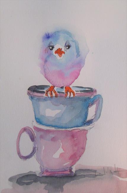 Art: Bird in a Tea Cup by Artist Delilah Smith