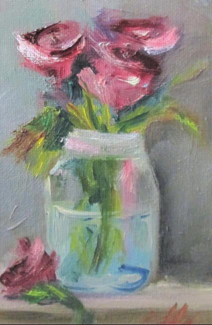 Art: Fruit Jar of Roses by Artist Delilah Smith