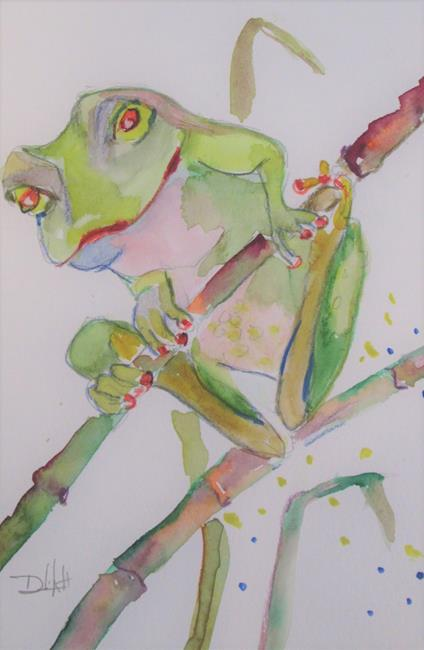 Art: Frog on a Reed by Artist Delilah Smith