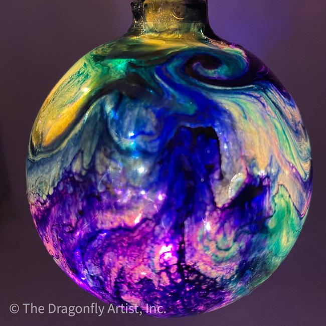 Art: Mardi Gras Light Up Dragonfly Ball #1393058 by Artist Rebecca M Ronesi-Gutierrez