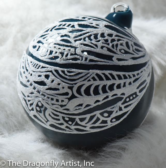 Art: Teal Milk Glass w Pearl Dragonfly Ball #1393057 by Artist Rebecca M Ronesi-Gutierrez