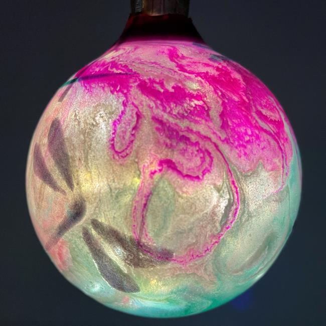 Art: Light Up & Glow Magenta Emerald Dragonfly Ball #1393050 by Artist Rebecca M Ronesi-Gutierrez