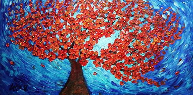 Art: Red Orange Sakura by Artist LUIZA VIZOLI