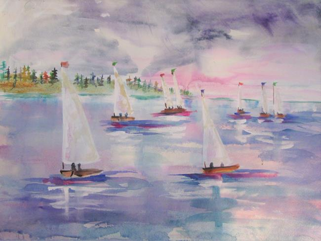 Art: Sailboats before the Storm by Artist Delilah Smith