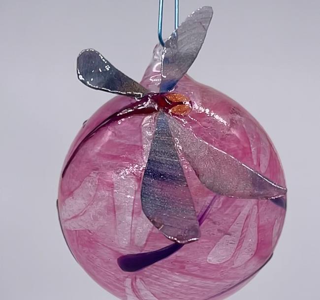 Art: Sculpted Wings Dragonfly Ball Pink #1393073 by Artist Rebecca M Ronesi-Gutierrez