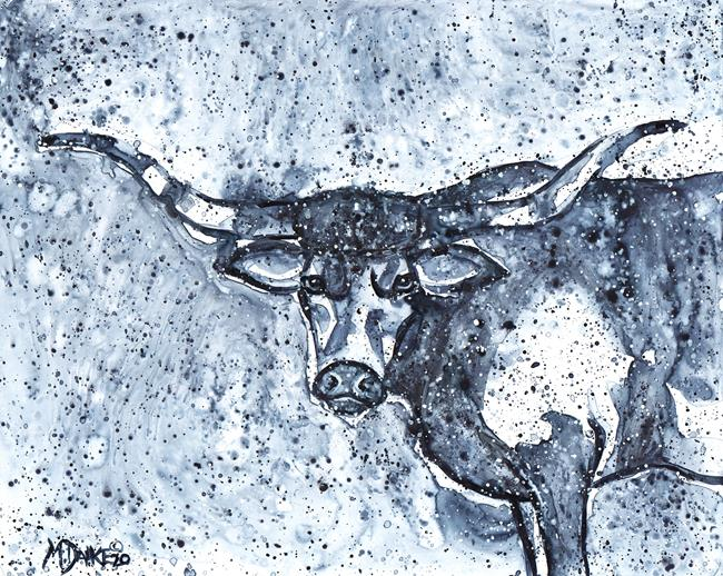 Art: Indigo Longhorn by Artist Melinda Dalke