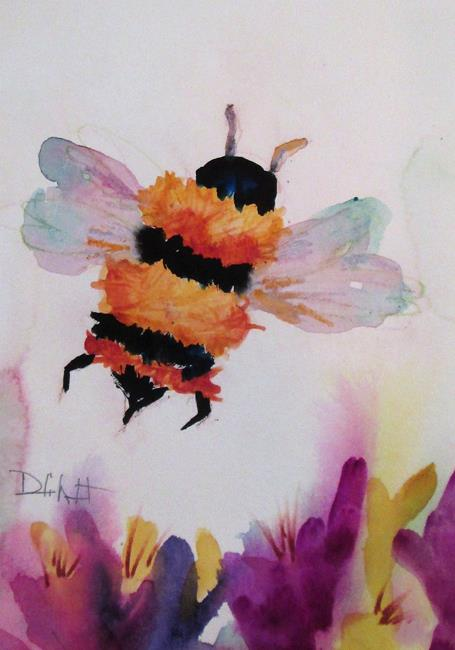 Art: Bee in teFlowers by Artist Delilah Smith
