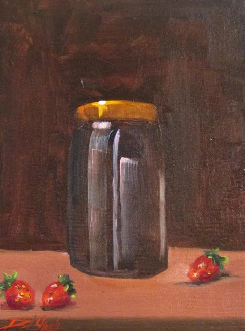 Art: Jar and Strawberries by Artist Delilah Smith