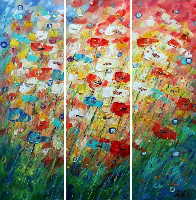 Art: Raining Flowers by Artist LUIZA VIZOLI